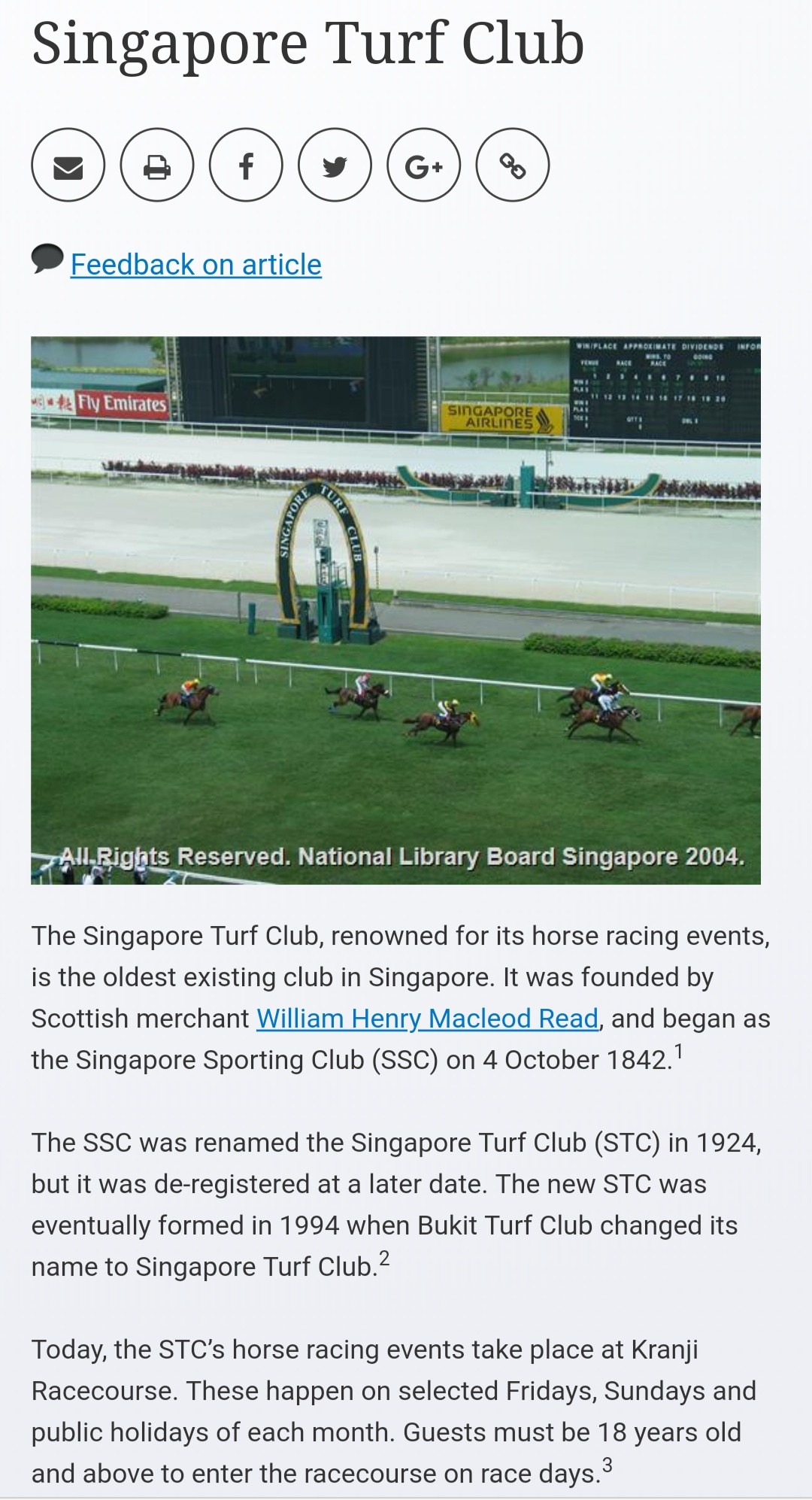 Serious - Singapore Turf Club's S$500 million ('96- Aug